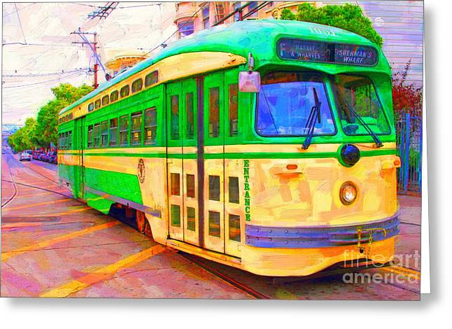 Wingsdomain Greeting Cards - San Francisco F-Line Trolley Greeting Card by Wingsdomain Art and Photography