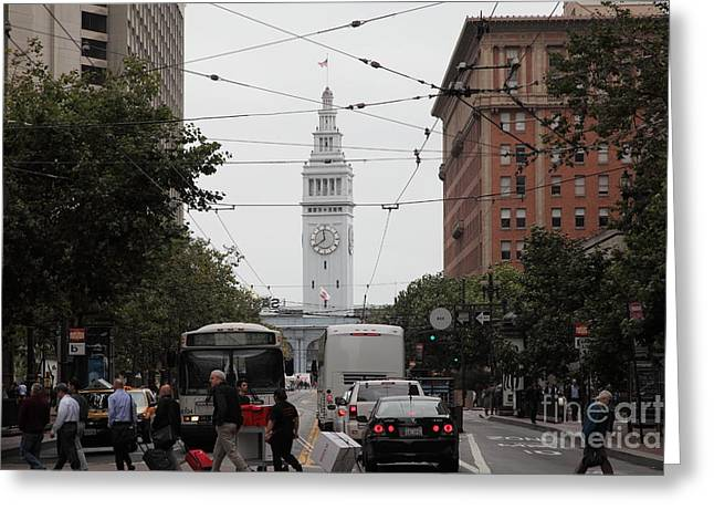 San Francisco Ferry Building at End of Market Street - 5D17865 Greeting Card by Wingsdomain Art and Photography
