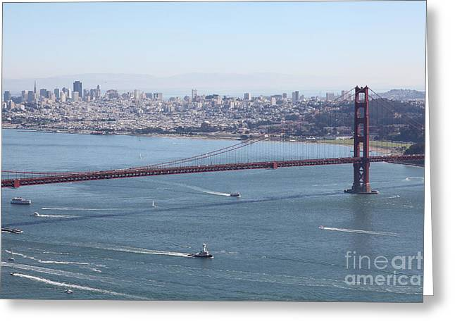 Hawk Hill Greeting Cards - San Francisco Golden Gate Bridge And Skyline Viewed From Hawk Hill in Marin - 5D19605 Greeting Card by Wingsdomain Art and Photography