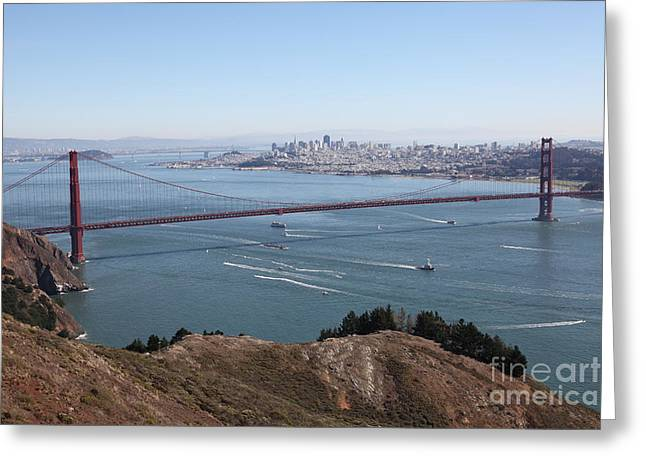 Hawk Hill Greeting Cards - San Francisco Golden Gate Bridge And Skyline Viewed From Hawk Hill in Marin - 5D19606 Greeting Card by Wingsdomain Art and Photography