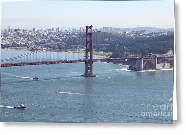 Hawk Hill Greeting Cards - San Francisco Golden Gate Bridge And Skyline Viewed From Hawk Hill in Marin - 5D19607 Greeting Card by Wingsdomain Art and Photography