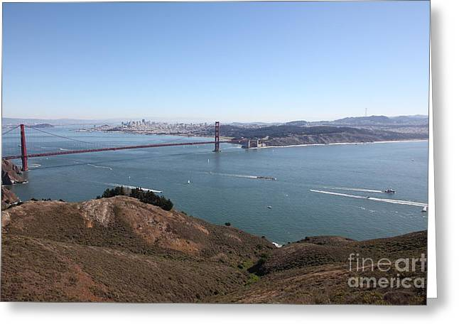 Hawk Hill Greeting Cards - San Francisco Golden Gate Bridge And Skyline Viewed From Hawk Hill in Marin - 5D19614 Greeting Card by Wingsdomain Art and Photography