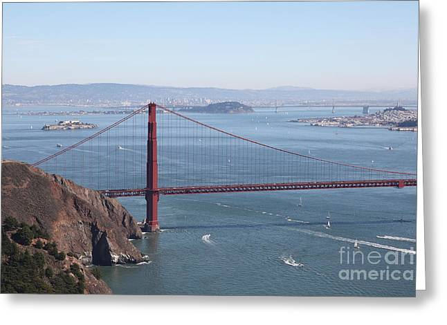Hawk Hill Greeting Cards - San Francisco Golden Gate Bridge And Skyline Viewed From Hawk Hill in Marin - 5D19628 Greeting Card by Wingsdomain Art and Photography