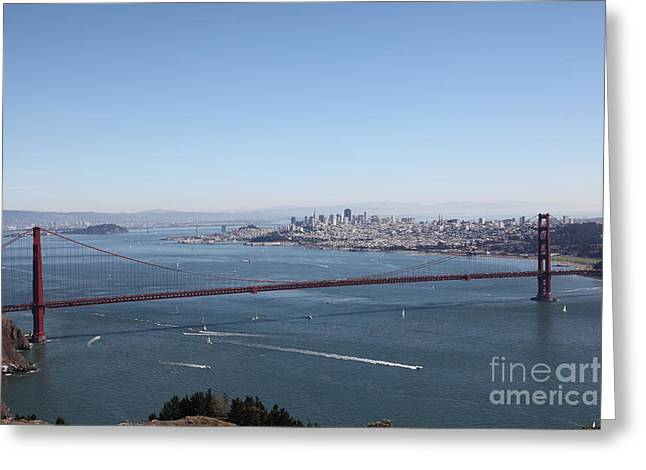 Hawk Hill Greeting Cards - San Francisco Golden Gate Bridge And Skyline Viewed From Hawk Hill in Marin - 5D19629 Greeting Card by Wingsdomain Art and Photography