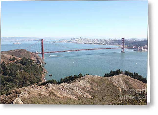 Hawk Hill Greeting Cards - San Francisco Golden Gate Bridge And Skyline Viewed From Hawk Hill in Marin - 5D19637 Greeting Card by Wingsdomain Art and Photography