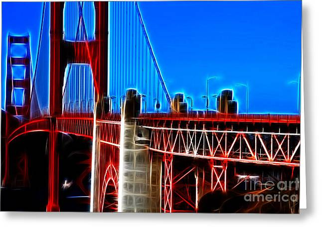 San Francisco Golden Gate Bridge Electrified Greeting Card by Wingsdomain Art and Photography