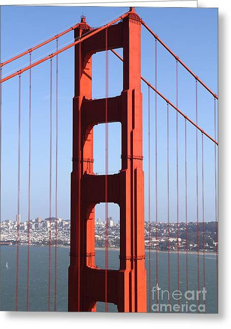 Steel Construction Greeting Cards - San Francisco in The Distance Through The Golden Gate Bridge . 7D14512 Greeting Card by Wingsdomain Art and Photography