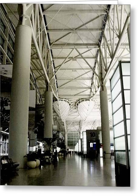 Black And White Photos Pyrography Greeting Cards - San Francisco International Airport Greeting Card by Fareeha Khawaja
