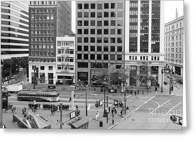 Palace Hotel Greeting Cards - San Francisco Market Street - 5D17877 - black and white Greeting Card by Wingsdomain Art and Photography