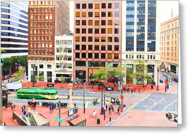 Palace Hotel Greeting Cards - San Francisco Market Street - 5D17877 - Painterly Greeting Card by Wingsdomain Art and Photography