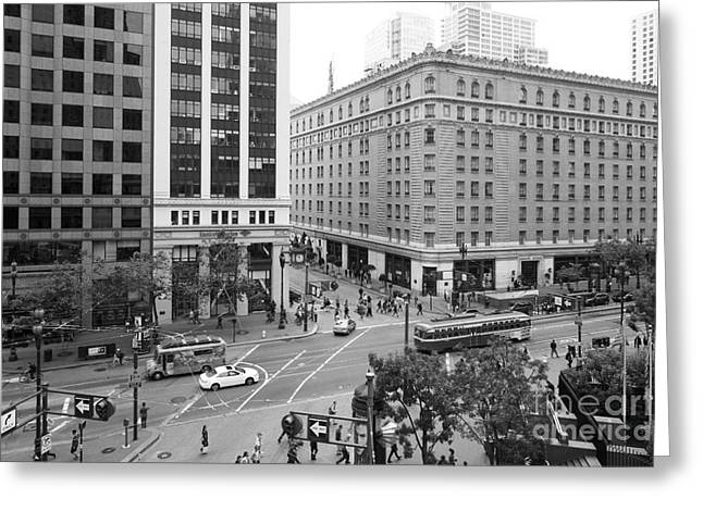 Palace Hotel Greeting Cards - San Francisco Market Street - 5D17883 - black and white Greeting Card by Wingsdomain Art and Photography