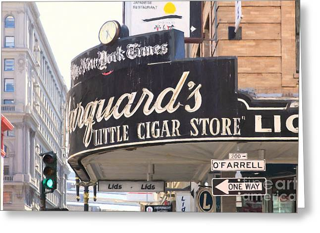 Crosswalk Greeting Cards - San Francisco Marquards Little Cigar Store on Powell and OFarrell Streets - 5D17954 - Painterly Greeting Card by Wingsdomain Art and Photography
