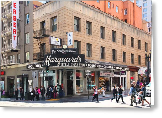 San Francisco Marquards Little Cigar Store on Powell Street - 5D17950 - Painterly Greeting Card by Wingsdomain Art and Photography