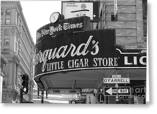 Crosswalk Greeting Cards - San Francisco Marquards Little Cigar Store Powell and OFarrell Streets - 5D17954 - black and white Greeting Card by Wingsdomain Art and Photography