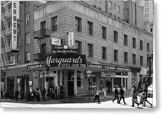 Crosswalk Greeting Cards - San Francisco Marquards Little Cigar Store Powell Street - 5D17950 - black and white Greeting Card by Wingsdomain Art and Photography