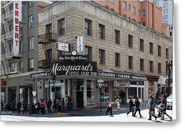 Downtown San Francisco Greeting Cards - San Francisco Marquards Little Cigar Store Powell Street - 5D17950 Greeting Card by Wingsdomain Art and Photography