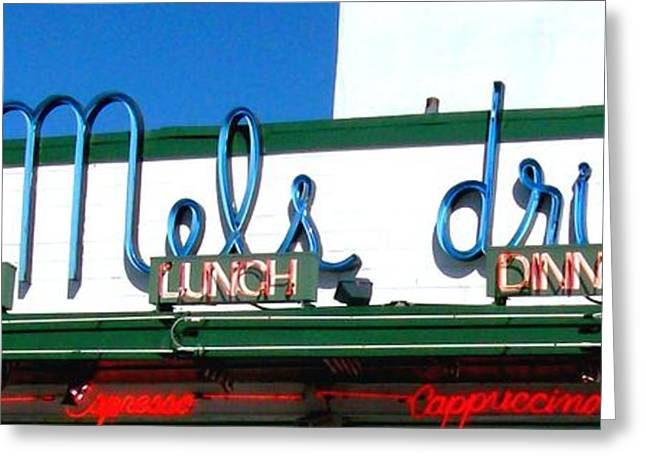 Mels Drive-in Photographs Greeting Cards - San Francisco Mels Drive-In NeonSign Greeting Card by Cj Carroll