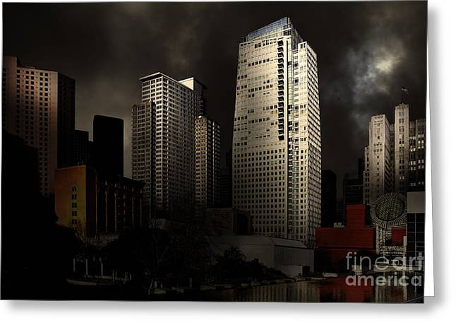 Sci-fi City Greeting Cards - San Francisco Nights At The Yerba Buena Garden . 7D4262 Greeting Card by Wingsdomain Art and Photography