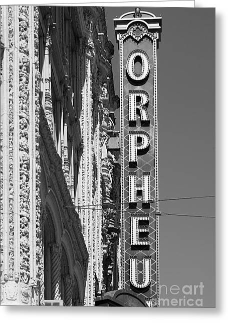 Theatre District Greeting Cards - San Francisco Orpheum Theatre - 5D17996 - black and white Greeting Card by Wingsdomain Art and Photography