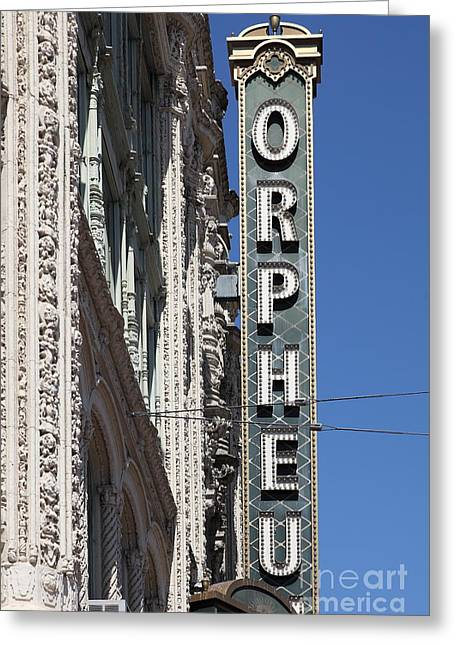 Theatre Billboard Greeting Cards - San Francisco Orpheum Theatre - 5D17996 Greeting Card by Wingsdomain Art and Photography