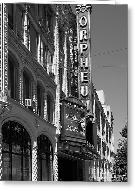 Theatre District Greeting Cards - San Francisco Orpheum Theatre - 5D17997 - black and white Greeting Card by Wingsdomain Art and Photography