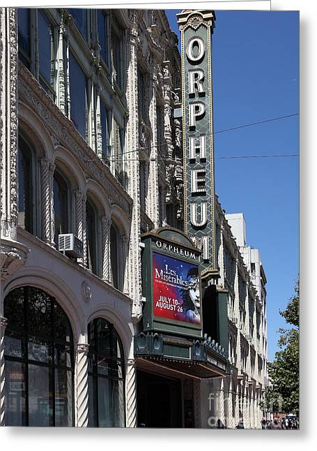 Theatre Billboard Greeting Cards - San Francisco Orpheum Theatre - 5D17997 Greeting Card by Wingsdomain Art and Photography