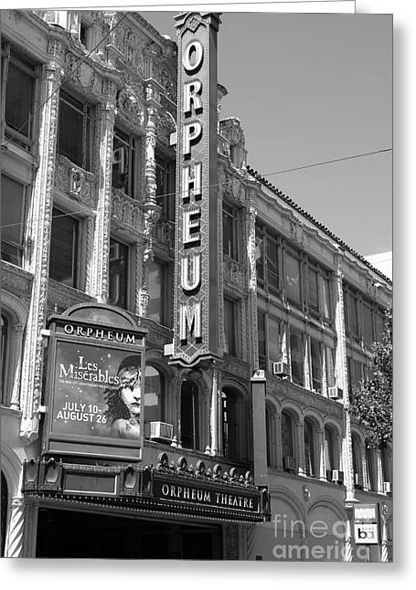 Theatre District Greeting Cards - San Francisco Orpheum Theatre - 5D18007 - black and white Greeting Card by Wingsdomain Art and Photography