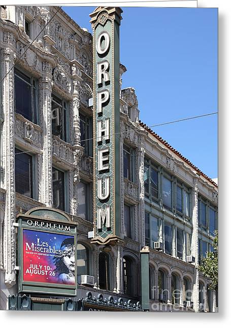 Theatre Billboard Greeting Cards - San Francisco Orpheum Theatre - 5D18007 Greeting Card by Wingsdomain Art and Photography
