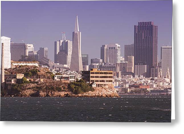 Alcatraz Greeting Cards - San Francisco Panorama Greeting Card by Ronnie Comeau