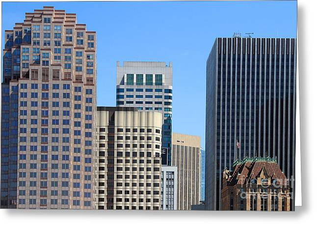 Union Square Greeting Cards - San Francisco Skyline . 7D7493 Greeting Card by Wingsdomain Art and Photography