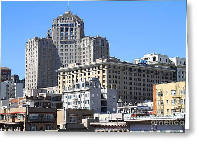 Union Square Greeting Cards - San Francisco Skyline . 7D7494 Greeting Card by Wingsdomain Art and Photography