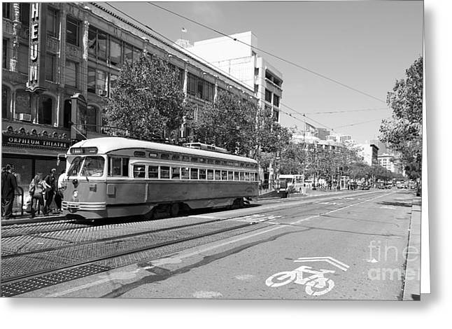 Theatre District Greeting Cards - San Francisco Streetcar at The Orpheum Theatre - 5D18000 - black and white Greeting Card by Wingsdomain Art and Photography