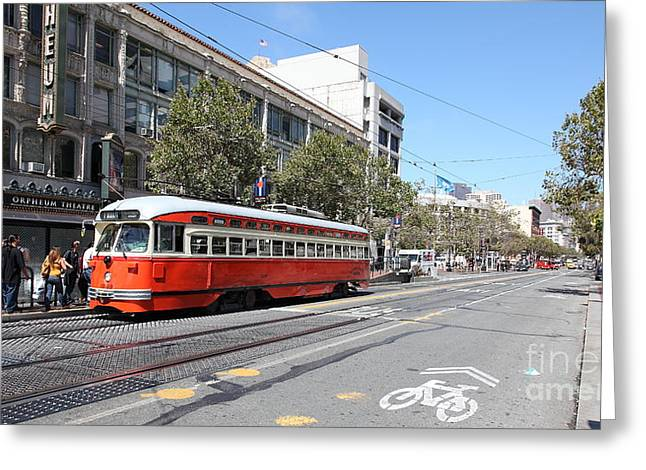 Theatre District Greeting Cards - San Francisco Streetcar at The Orpheum Theatre - 5D18000 Greeting Card by Wingsdomain Art and Photography