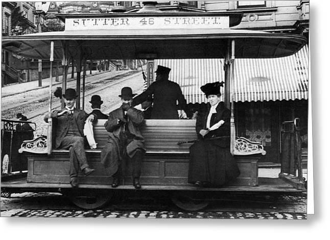 Sutter Street Greeting Cards - San Francisco: Streetcar Greeting Card by Granger