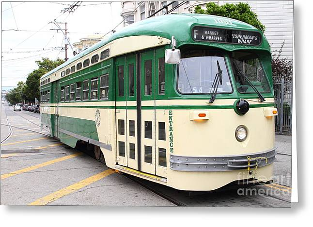 Eureka Valley Greeting Cards - San Francisco Trolley . Castro District  . 7D7556 Greeting Card by Wingsdomain Art and Photography