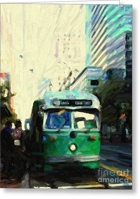Castro Greeting Cards - San Francisco Trolley F Line On Market Street Greeting Card by Wingsdomain Art and Photography