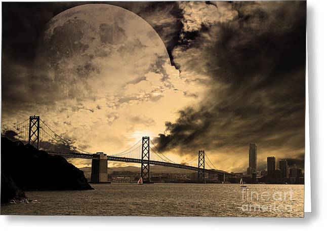 Downtown San Francisco Greeting Cards - San Francisco Under The Moon Greeting Card by Wingsdomain Art and Photography