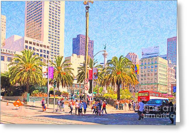 Recently Sold -  - Union Square Greeting Cards - San Francisco Union Square Greeting Card by Wingsdomain Art and Photography