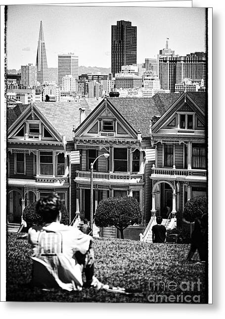 Mordern Greeting Cards - San Francisco View ll - black and white Greeting Card by Hideaki Sakurai