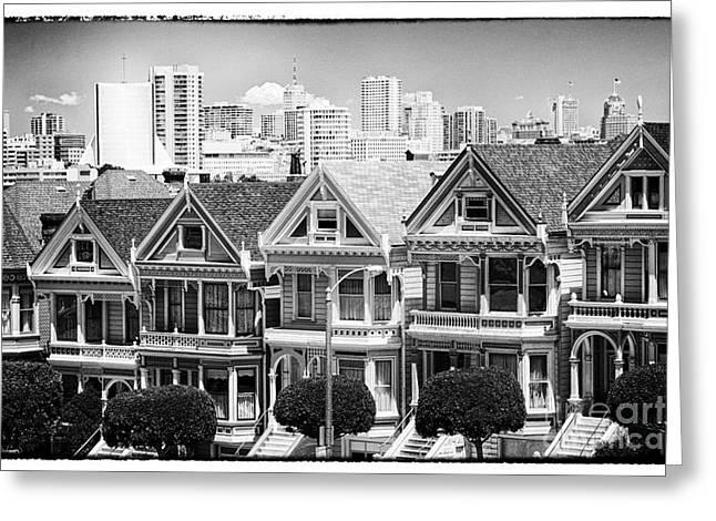 Alamo Square Greeting Cards - San Francisco View lll - black and white Greeting Card by Hideaki Sakurai