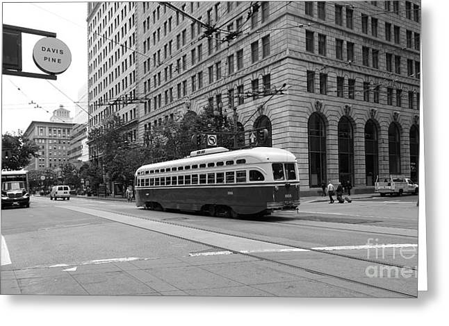 Long Street Greeting Cards - San Francisco Vintage Streetcar on Market Street - 5D17862 - black and white Greeting Card by Wingsdomain Art and Photography
