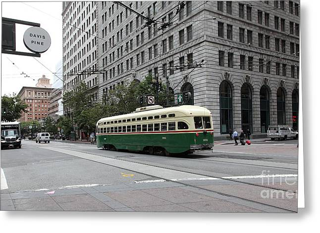 Downtown San Francisco Greeting Cards - San Francisco Vintage Streetcar on Market Street - 5D17862 Greeting Card by Wingsdomain Art and Photography