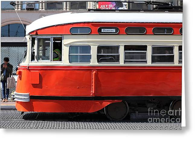 Downtown San Francisco Greeting Cards - San Francisco Vintage Streetcar on Market Street - 5D18001 Greeting Card by Wingsdomain Art and Photography