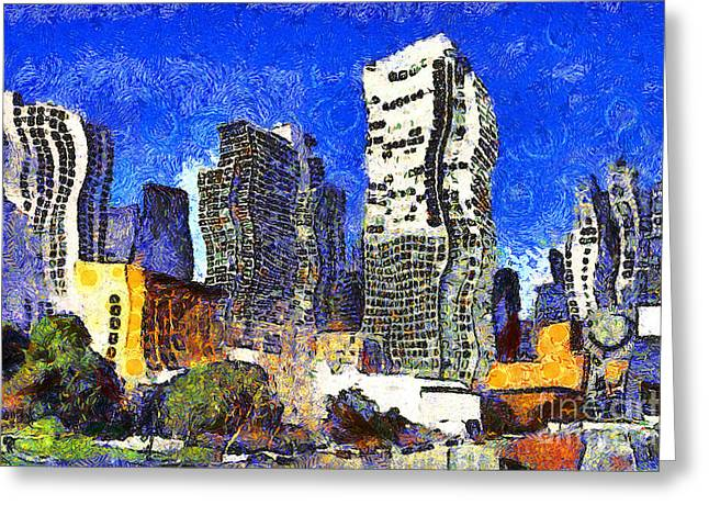 Mario Botta Botta Greeting Cards - San Francisco Yerba Buena Garden Through The Eyes of Van Gogh . 7D4262 Greeting Card by Wingsdomain Art and Photography