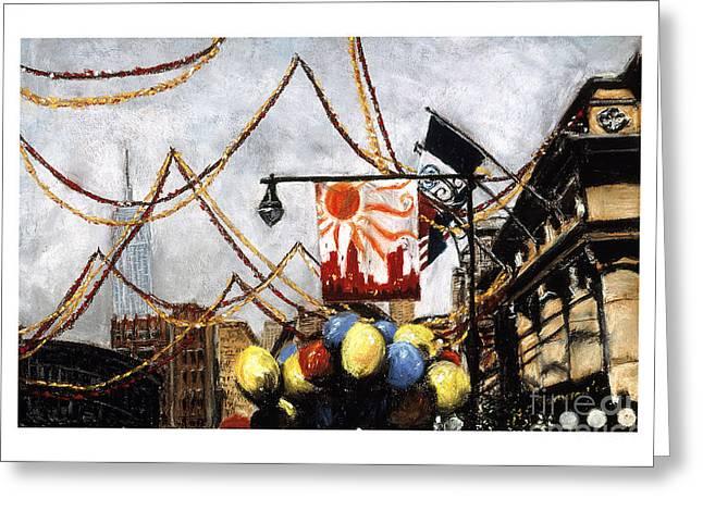 Manhattan Pastels Greeting Cards - San Gennaro Greeting Card by Barry Rothstein