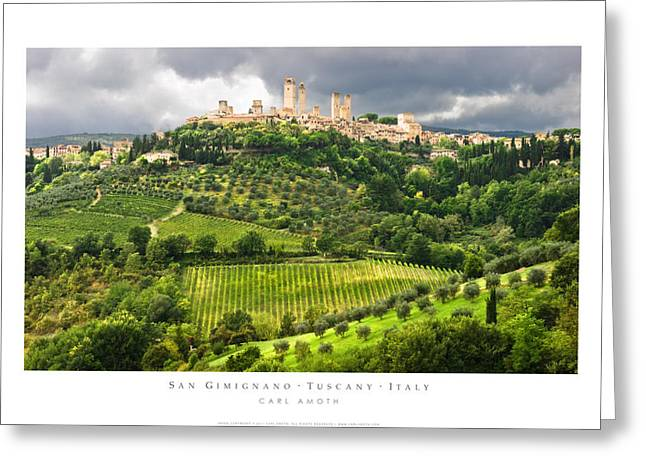 Tuscan Hills Photographs Greeting Cards - San Gimignano Tuscany Italy Greeting Card by Carl Amoth