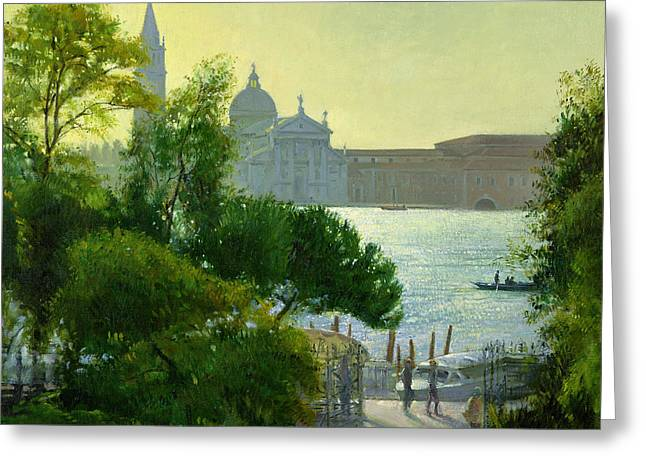 Italian Sunset Greeting Cards - San Giorgio - Venice  Greeting Card by Timothy Easton