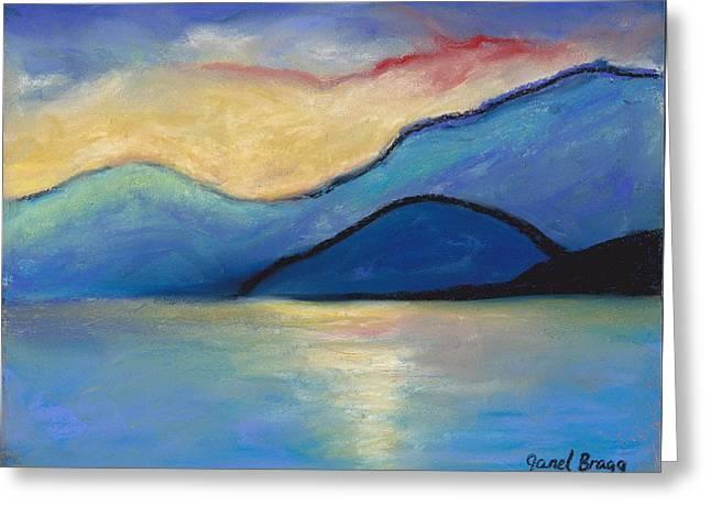 Surf Art Drawings Greeting Cards - San Juan Island Twilight in pastels Greeting Card by Janel Bragg