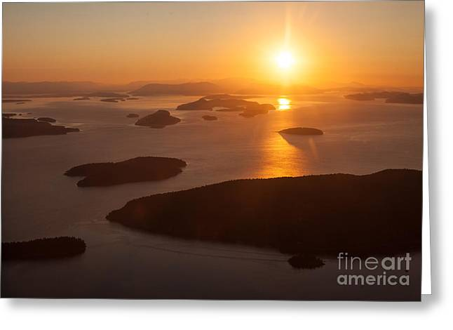 Mike Reid Greeting Cards - San Juan Islands Sunset Evening Greeting Card by Mike Reid