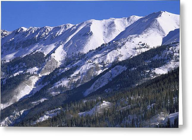 San Juan Mountains Covered In Snow Greeting Card by Tim Fitzharris